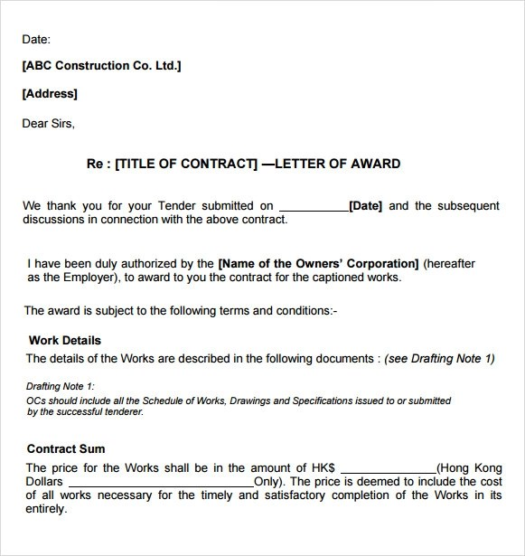 Awarding a contract sample letter professional resume cv maker awarding a contract sample letter awarding contract letter template sample form contract award letter related keywords thecheapjerseys Images