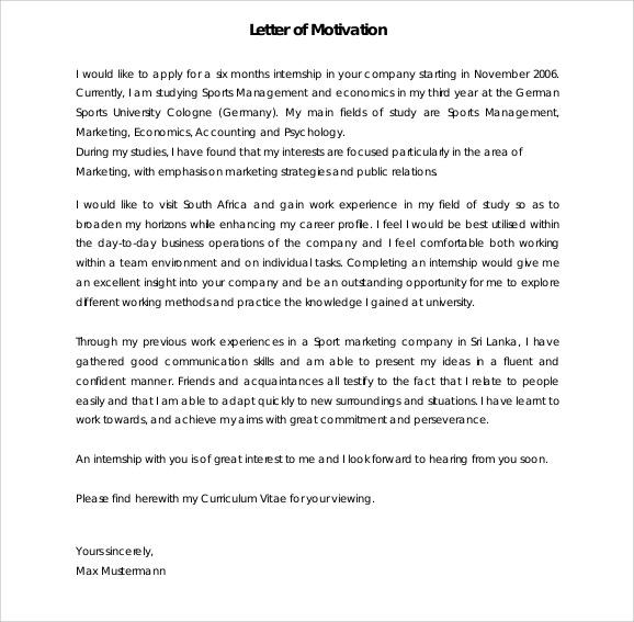 8+ Sample Motivation Letters - PDF, Word