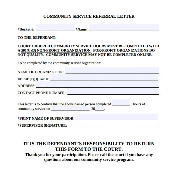 community service cover letters
