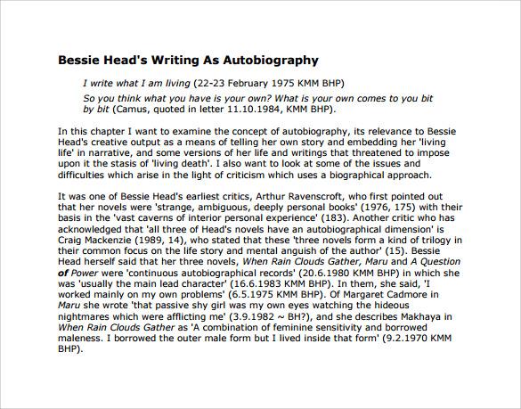 autobiography sample pdf - Ozilalmanoof
