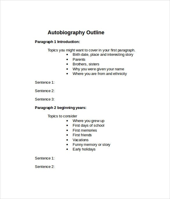 Best Photos Of Printable Autobiography Template Biography - mandegar