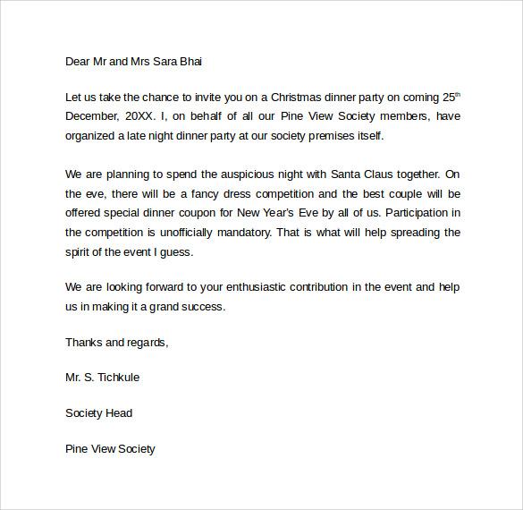 sample invitation letter for dinner party - Ozilalmanoof