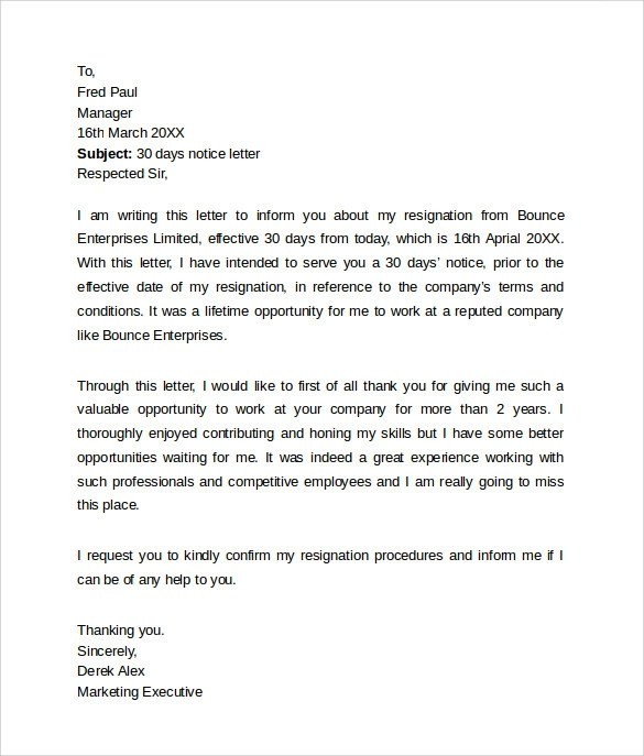 8 Sample 30 Day Notice Letter Templates Download for Free Sample