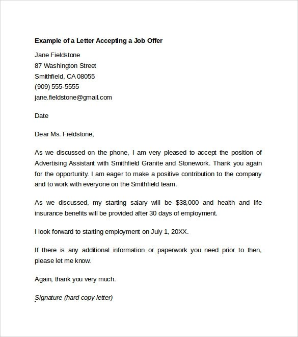 thank you letter after accepting job offer