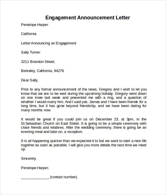 Sample Engagement Letter - 9+ Download Free Documents in PDF, Word - announcement letter samples