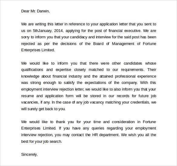 thank you note after rejection