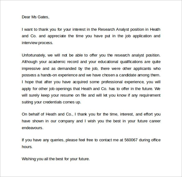 9 Rejection Letters After Interview to Download Sample Templates