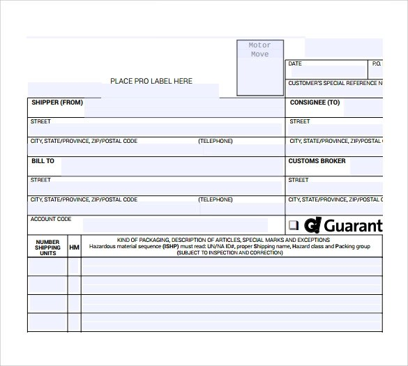10 Bill of Lading Forms to Download for Free Sample Templates - bill of lading form free