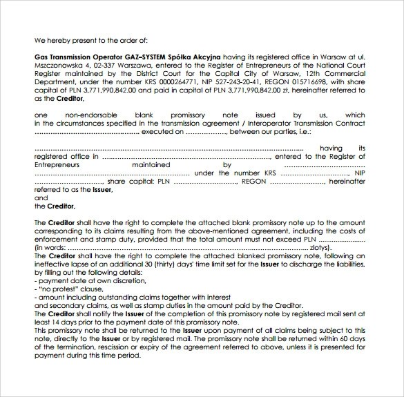 Promissory Note Template - 10+ Download Free Documents in Word, PDF