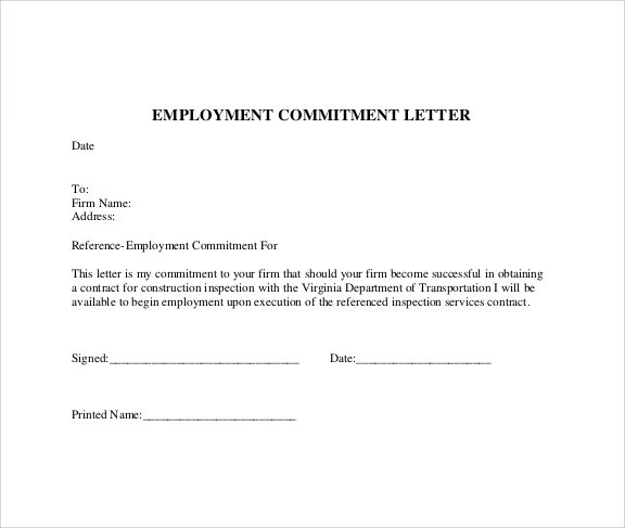 Usgedu Sample Commitment Letter Template 6 Free Documents In