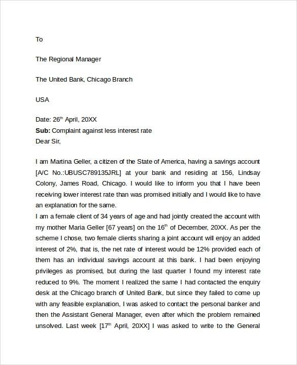 Complaint Letter Sample Example Template Format Sample Professional Letter Format 9 Download Free