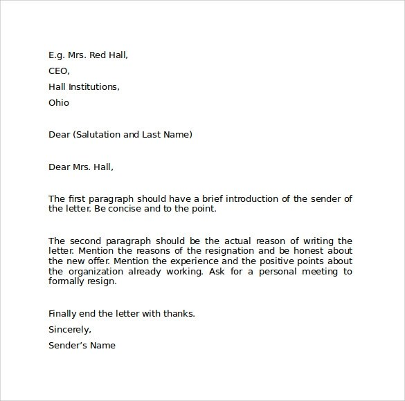 Sample Resignation Letter Format - 9+ Download Free Documents in PDF