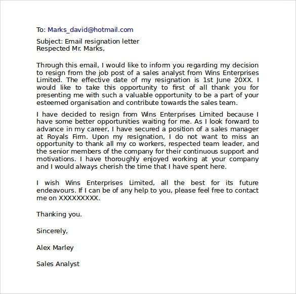 10 Resignation Letter Format Templates to Download Sample Templates - resignation email