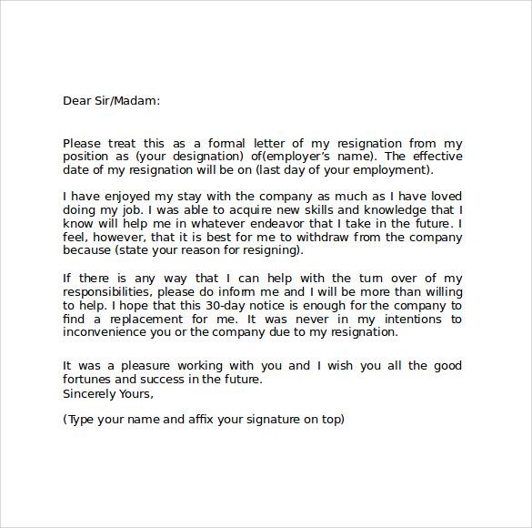 Resignation Letter Sample Philippines - teacher resignation letter ...