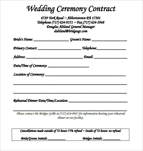 Wedding Contract Template - 23 + Download Free Documents in PDF - wedding contract template