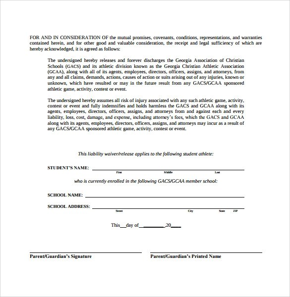 Legal Liability Waiver Form – Legal Liability Waiver Form