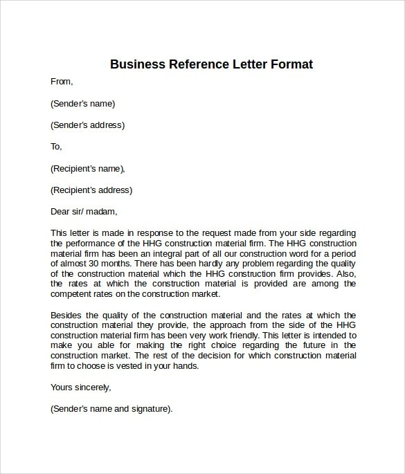 Sample Reference Letter Format - 7+ Download Free Documents in PDF, Word
