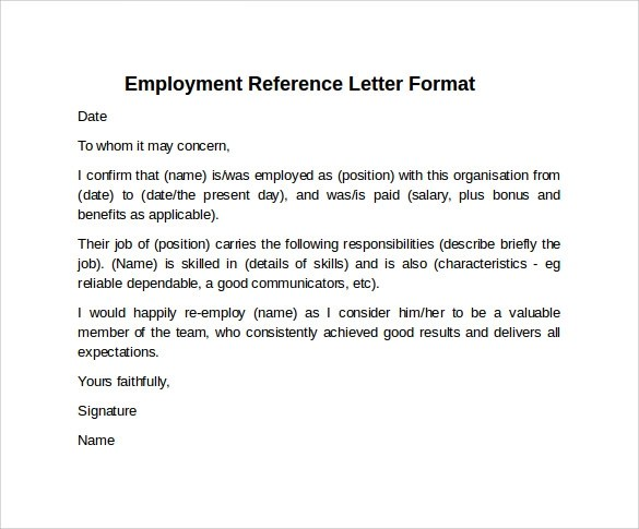 8 Sample Reference Letter Formats Examples to Download Sample - how to format a reference letter