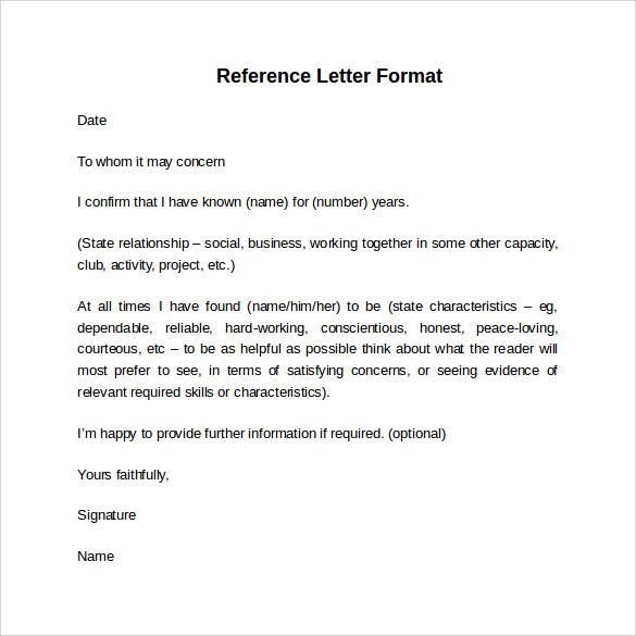 Sample Reference Letter Format - 7+ Download Free Documents in PDF - reference letter