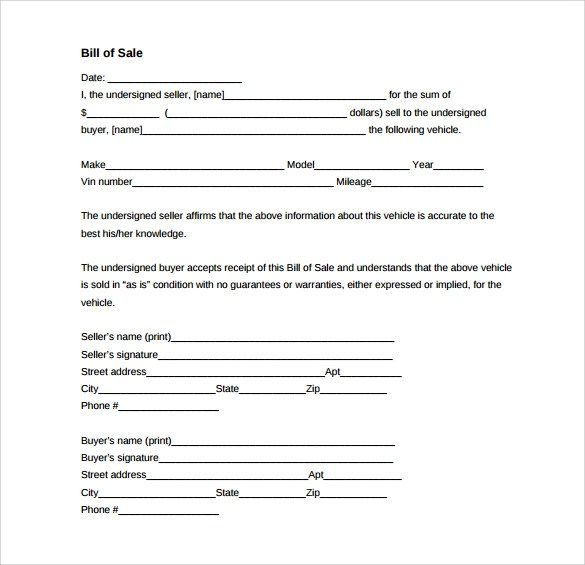 8 Vehicle Bill of Sale Forms to Download Sample Templates