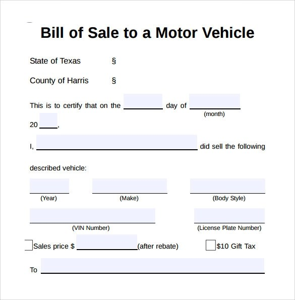 Sample Vehicle Bill of Sale Form - 8+ Download Free Documents In PDF - sample auto bill of sale