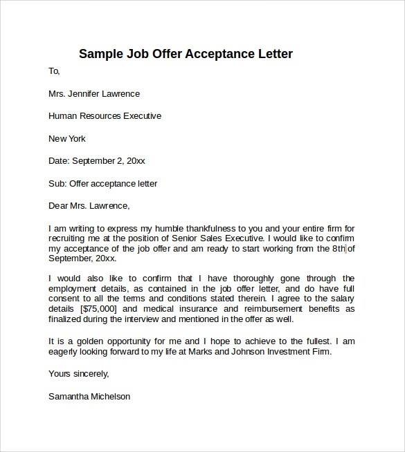 Sample Offer Acceptance Letter - 9+ Download Free Documents in PDF, Word