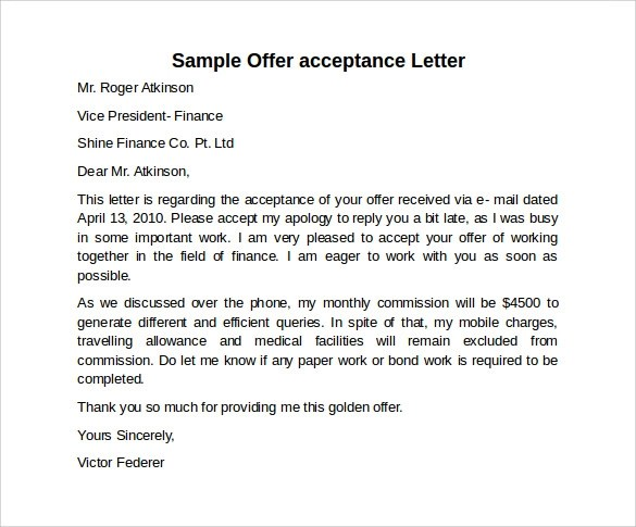 Sample Offer Acceptance Letter - 9+ Download Free Documents in PDF - job acceptance letters