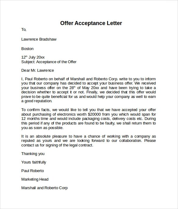 Contract Acceptance Letter Letter Of Contract Acceptance Sample