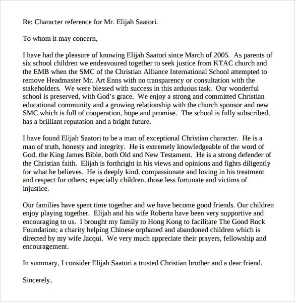 Writing A Reference Letter With Examples Sample Character Witness Letter 6 Download Free
