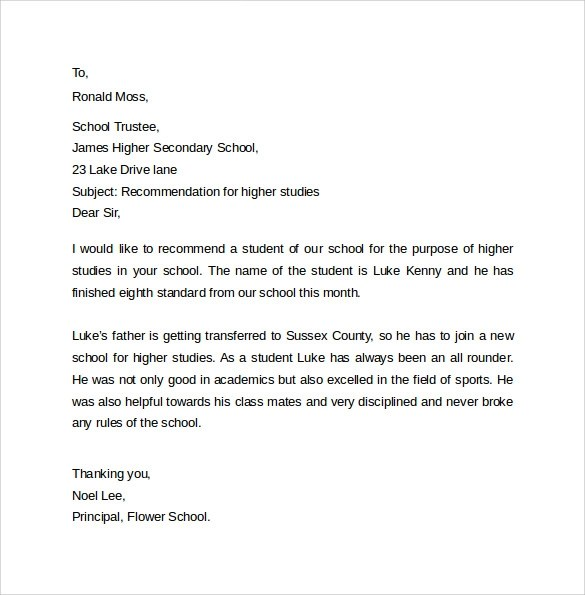 Sample Recommendation Letter Formats - 15+ Download Documents in - reference letter