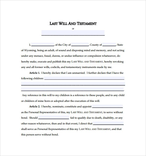 Last Will And Testament Forms. Sample Last Will And Testament Form ...