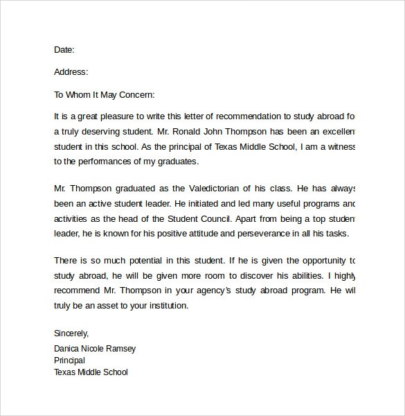 Recommendation letter example for a scholarship professional recommendation letter example for a scholarship letters of recommendation reference letter for study abroad cover letter spiritdancerdesigns Gallery