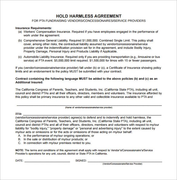 9+ Sample Hold Harmless Agreements Sample Templates