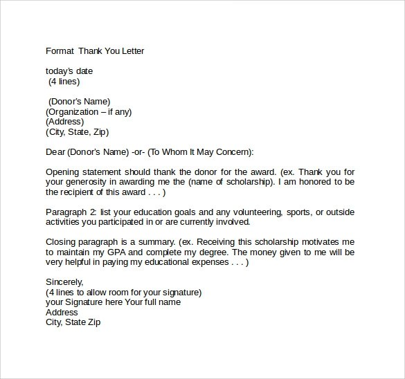 Official Thank You Letter Format Choice Image - letter format formal - sample award thank you letter