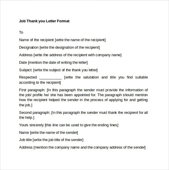 10 Thank You Letters Format to Download for Free Sample Templates
