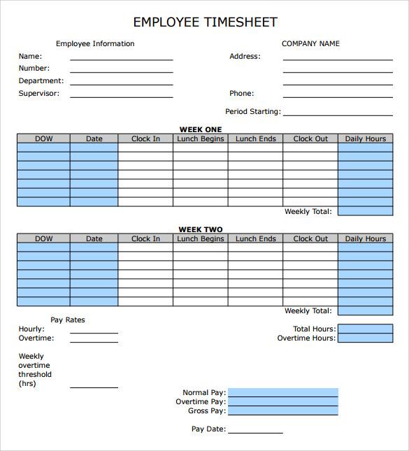 9+ Sample Employee Timesheet Calculator Templates Sample Templates - timesheet format for employee