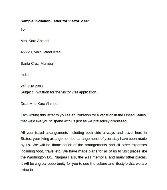 Request Letter Format For Visa Extension