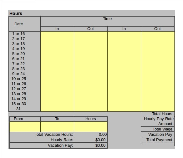 Sample Hourly Timesheet Calculator - 6+ Documents in PDF, Excel - hourly timesheet calculator