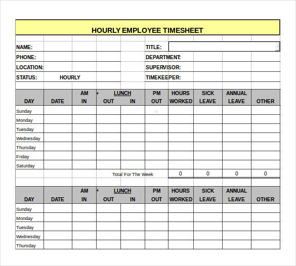 hourly employee timesheet