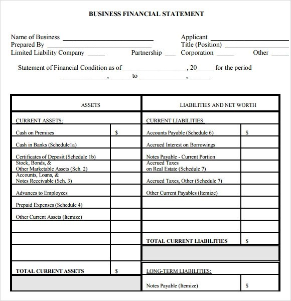 personal financial statement template pdf - personal profit and loss statement template