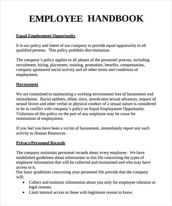 Employee Handbook Template madinbelgrade - sample employee manual template