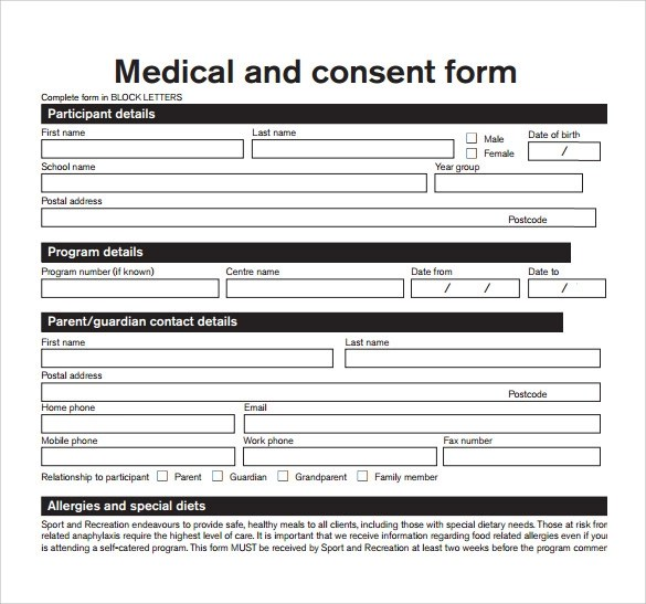 Consent Form Sample Questionnaire | Resume Format For Experienced