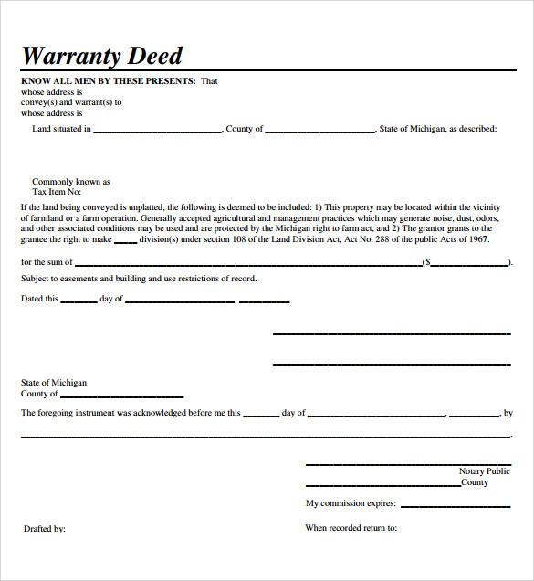 Sample Warranty Deed Form Template - 9+ Free Documents in PDF, Word