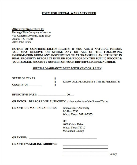 10+ Warranty Deed Form Templates Sample Templates - free printable contract for deed