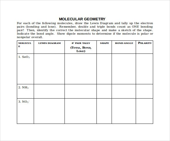 Unique Molecular Geometry Chart Collection - Resume Ideas - bayaarinfo - Molecular Geometry Chart