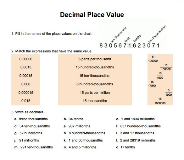 13+ Sample Decimal Place Value Charts Sample Templates - decimal place value chart