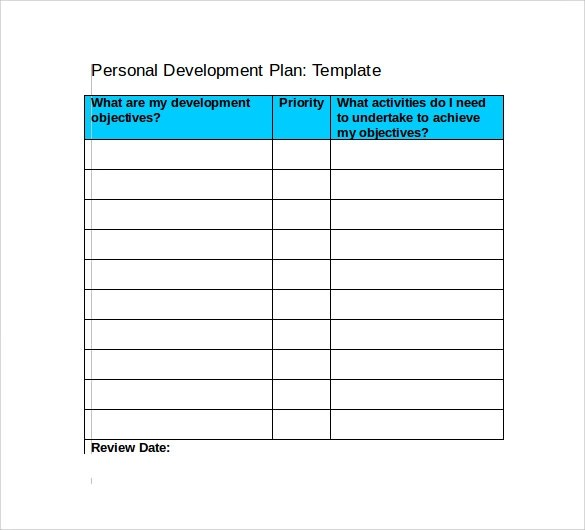 Personal Development Plan Template Free - annabismail - example of a personal development plan sample