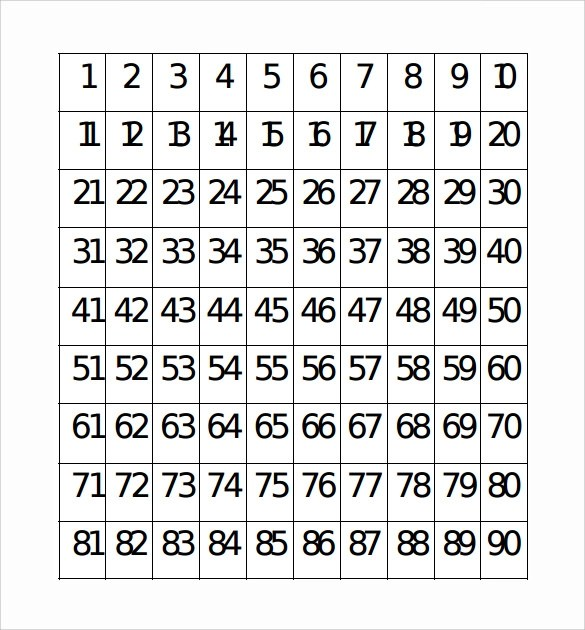 Number Chart Sample - 7+ Documents in PDF, Word - roman numeral chart template