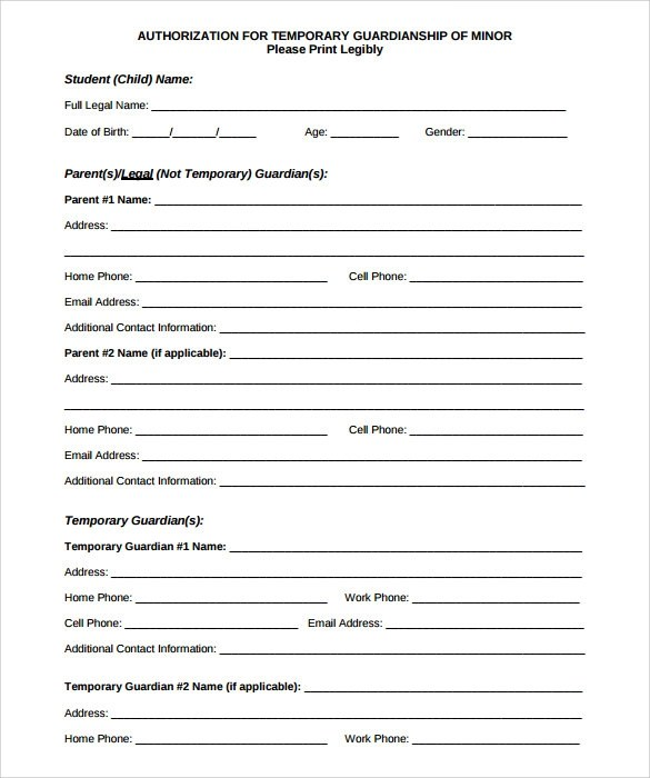 9 Temporary Guardianship Form Templates to Download Sample Templates - temporary custody form