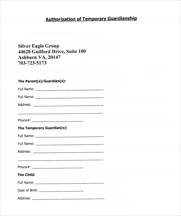 Guardianship Form Acsedu Org In Cases Where A Child Needs - temporary guardianship form